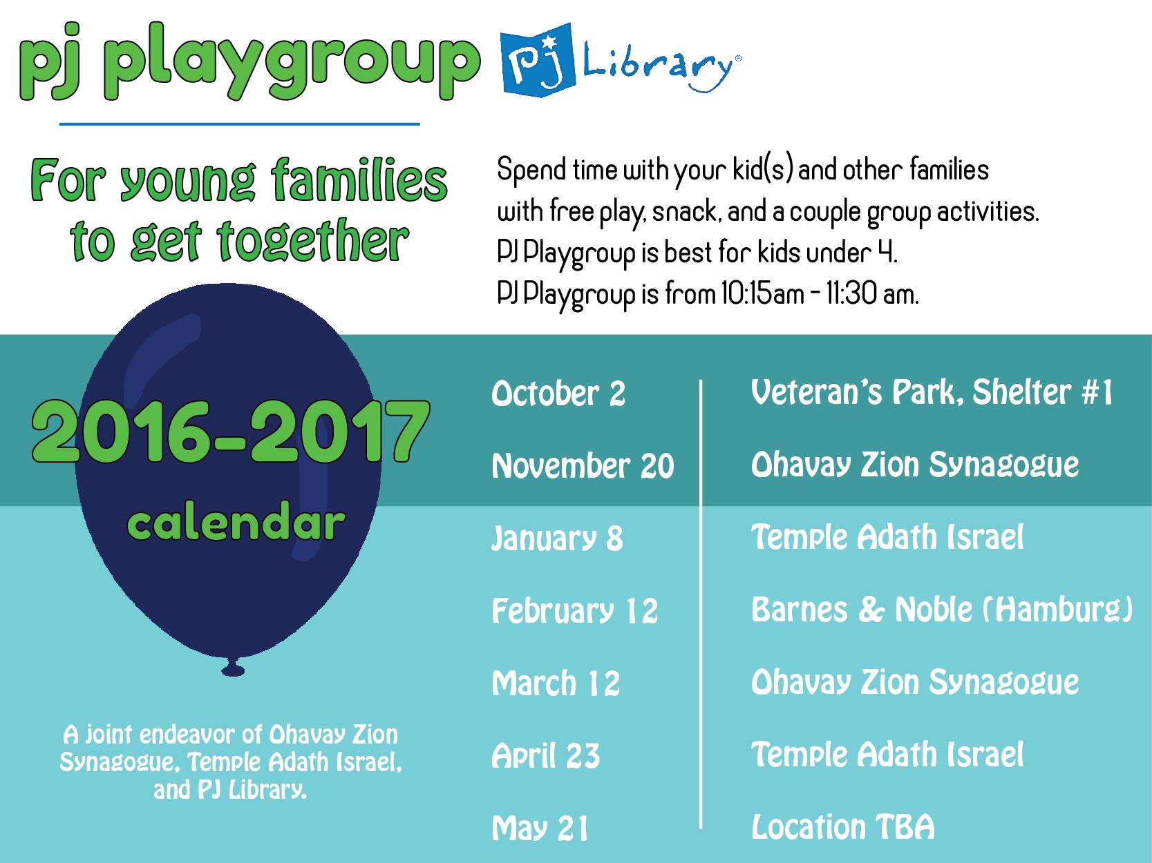 PJ Playgroup 2016 Calendar